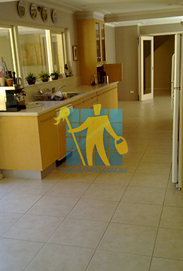 porcelain tiles floor inside furnished home after cleaning kitchen floors Gold Coast