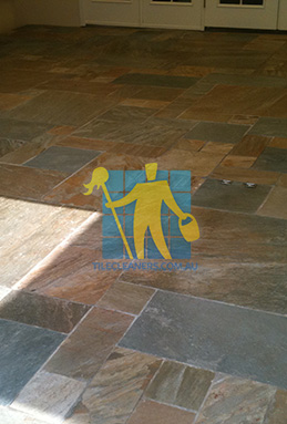 clean slate tiles unsealed after stripping and cleaning Gold Coast cleaning