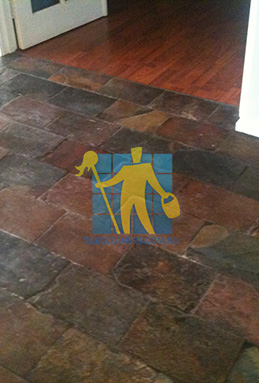 dirty and dull looking slate tiles requires stripping and sealing Gold Coast cleaning
