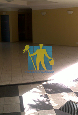 terrazzo tiles building entrance empty before cleaning dirty Gold Coast