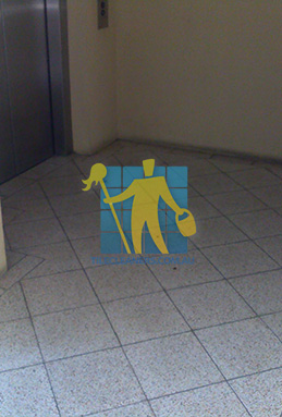 terrazzo tiles dirty floor entrance lift Gold Coast