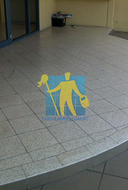 terrazzo tiles outdoor floor entrance curved dirty before cleaning Gold Coast