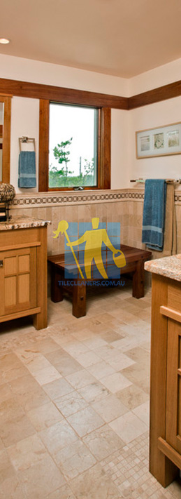 travertine tiles floor bathroom tumbled with mosaic corner wooden cabinets Gold Coast