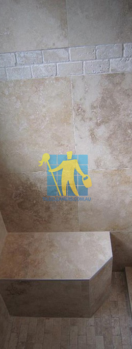 travertine tiles floor wall bathroom natural stone shower with seat Gold Coast